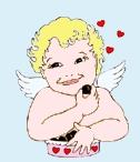 cupid eating chocolate