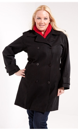 Plus Size Wool Peacoat in Black