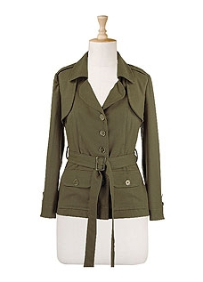 Plus Size Military Jacket in Brushed Cotton