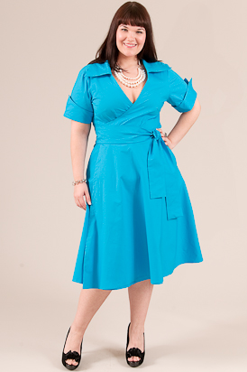plus size shirt dress by Jibri in bright blue