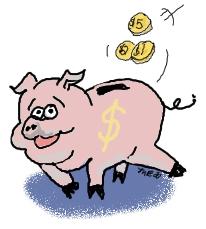 Money Going into Piggy Bank