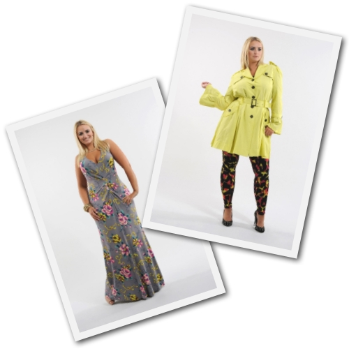 plus size jersey maxi dress and yellow frill mac from Anna Scholz