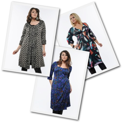 plus size dresses and coat from Anna Scholz