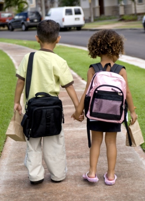 two children going back to school
