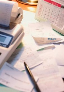 calculator and receipts