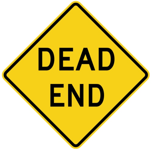 yellow dead end sign