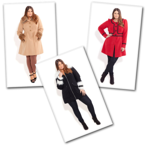 Plus size fashion coats from City Chic Online.