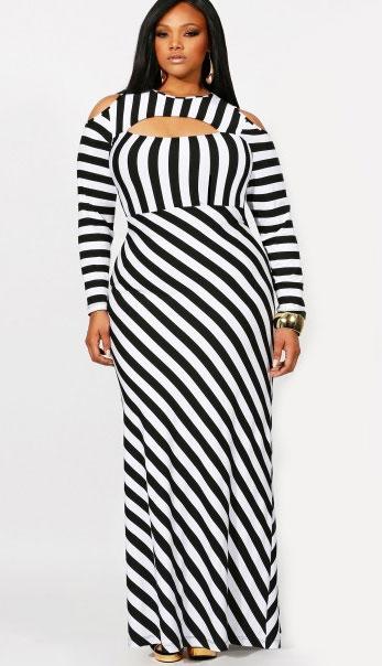Plus size striped maxi dress from Monif C.