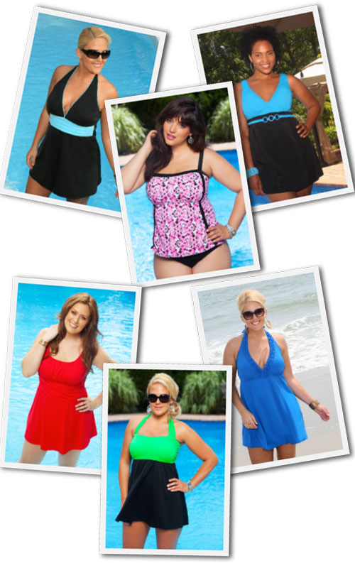 "A selection of ""in control"" plus size swimwear available at Always for Me."