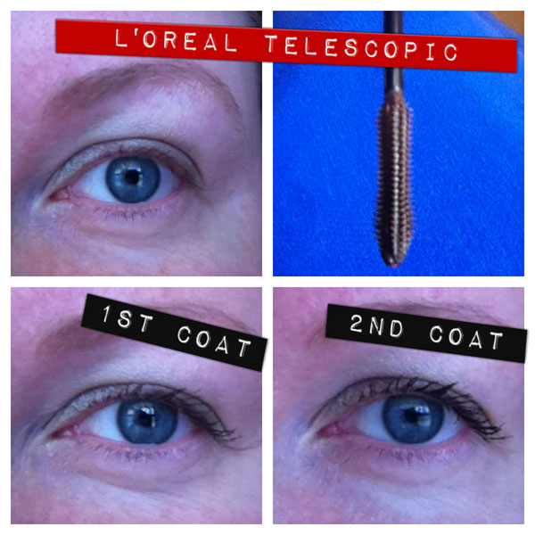 Before and after photos of L'Oreal Telescopic Mascara.