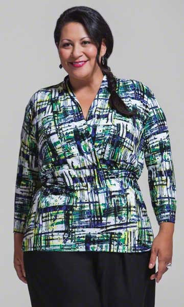Print plus size top in cross over fashion from Making It Big.