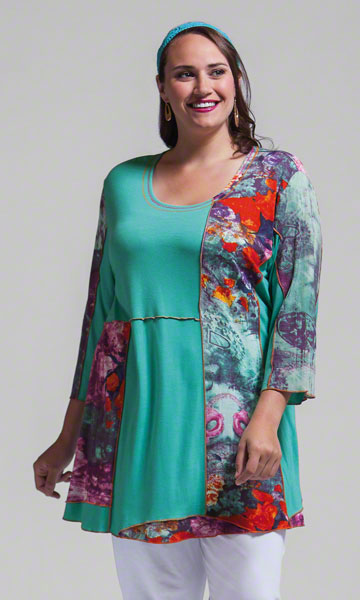 Patch work tunic in plus sizes from Making It Big.