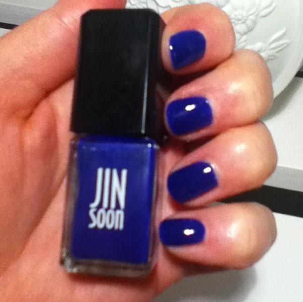 Two coats of JinSoon's Blue Iris nail polish.