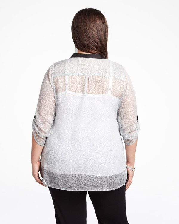 This plus size sheer mint blouse is from Addition-Elle.