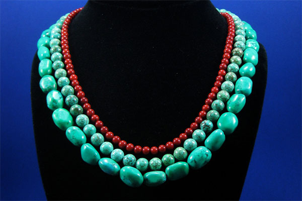 Red and Turquoise statement necklace from the Sculpted Tree on Etsy.