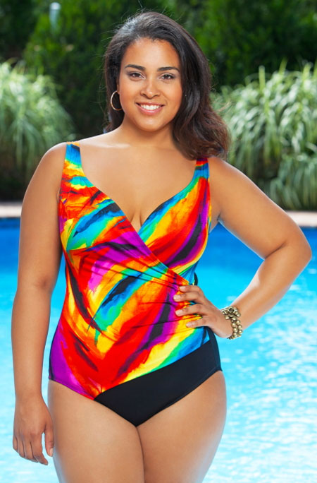 This colorful side shirred swimsuit is available from Always for Me.