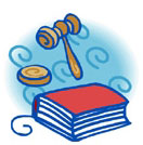 A book and gavel.