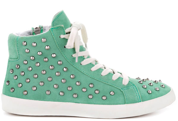 Studded mint green sneakers by Steve Madden.