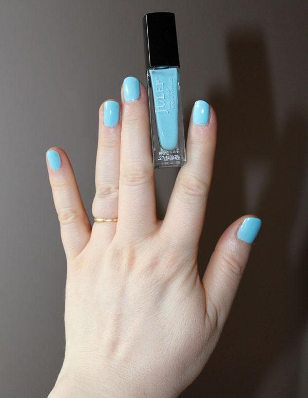 A fresh coat of bright blue nail polish.