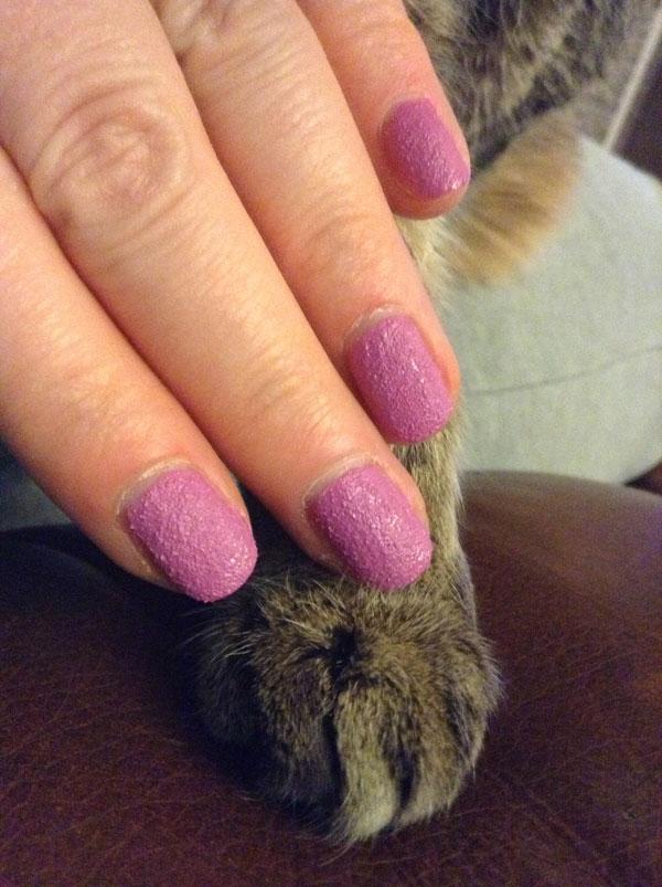 Textured nail polish from Sally Hansen in bubble plum.