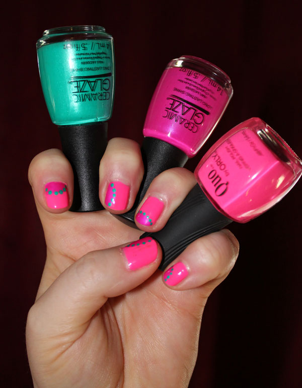 Bright summer pink nail polishes by Ceramic Glaze and Quo.