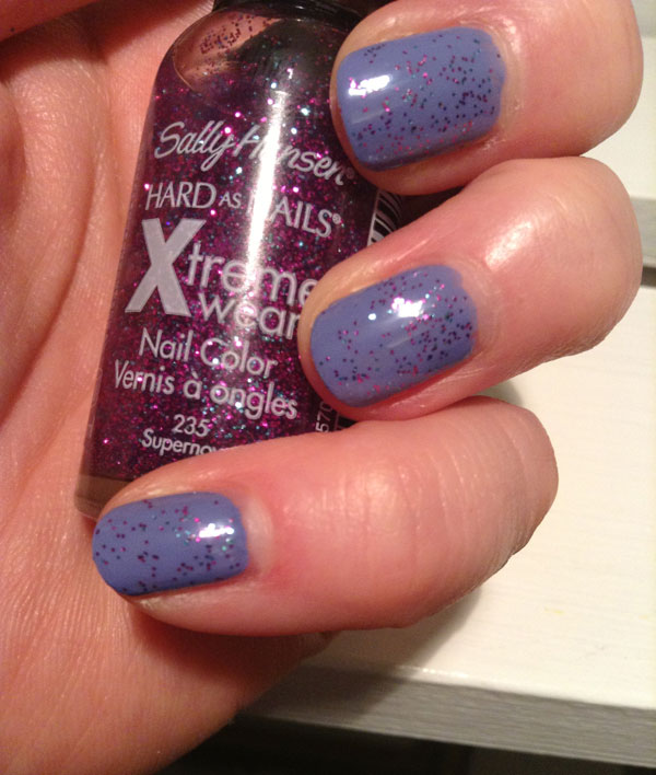 Essie's boxer shorts topped with a purple sparkle by Sally Hansen.