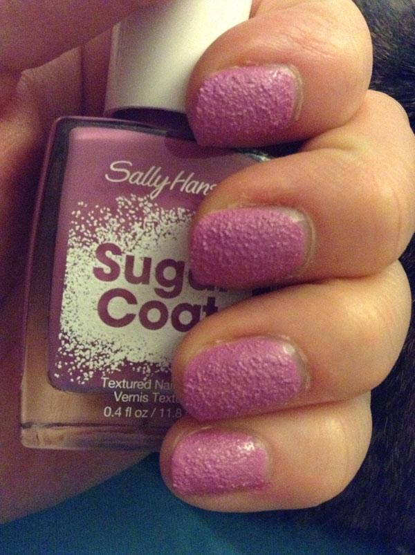 Sally Hansen sugar coat polish compared to in bottle.