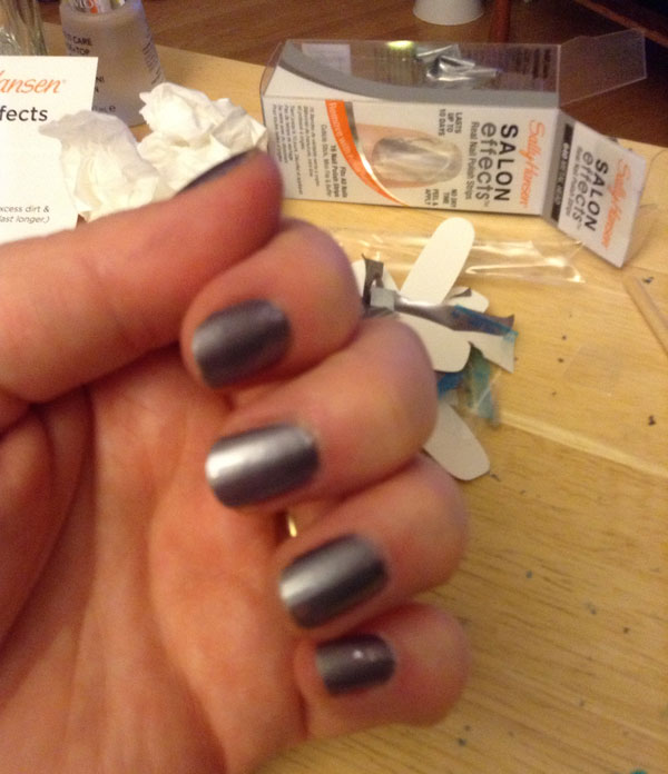 Silver stick on nail strips by Sally Hansen.