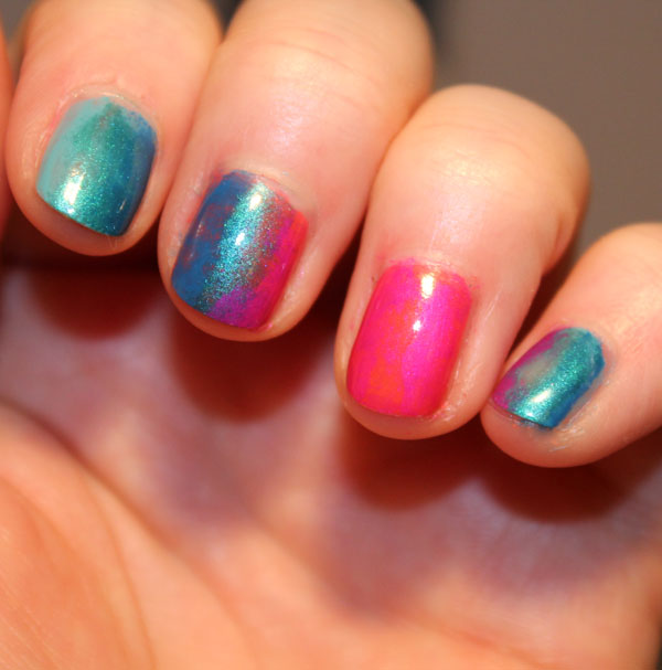 My gradient summer sunset nail art look.