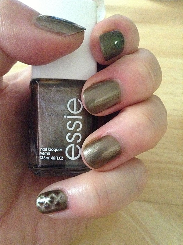 Essie magnetic reptile print nail polish.