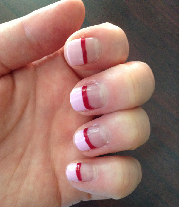 I added a red polish accent strip with a slight sparkle.