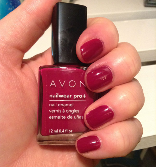 Two coats of Racy red nail polish from Avon's nail pro line..