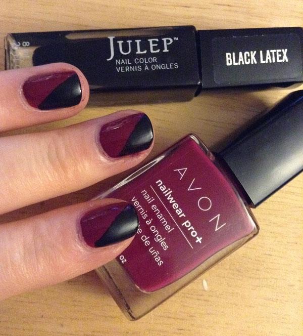 Julep's black latex cleopatra over Avon's nail pro Racy.