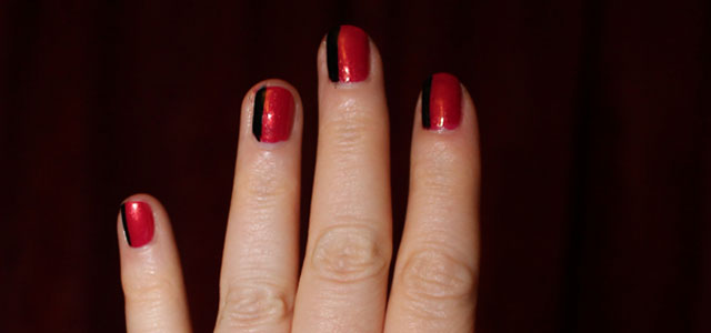 Black and red nail polish.