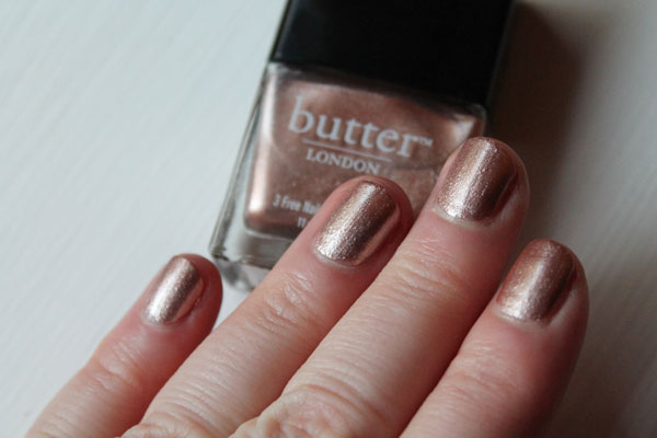 Rose gold nail polish from Butter London -- natural light.