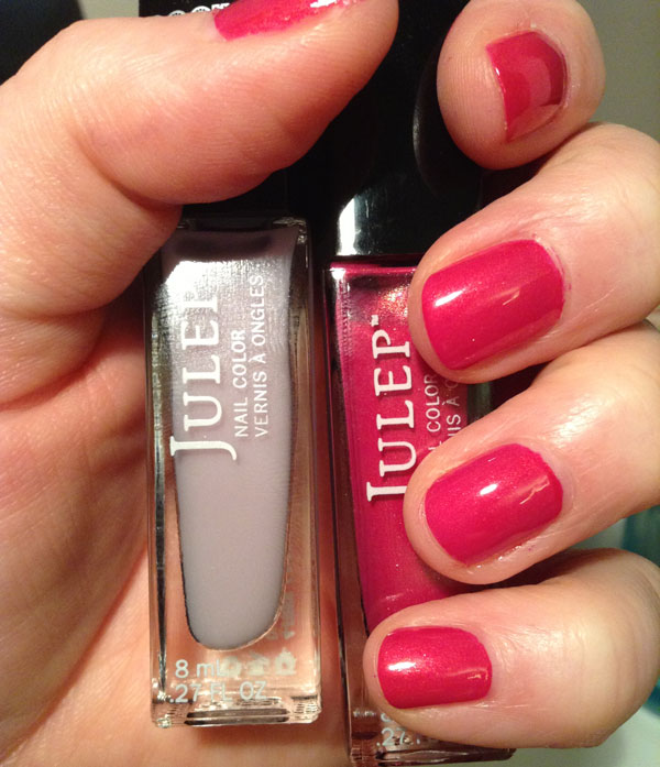 Julep's red nail polish, Evie, covered with a top coat of Rock Candy Marie.