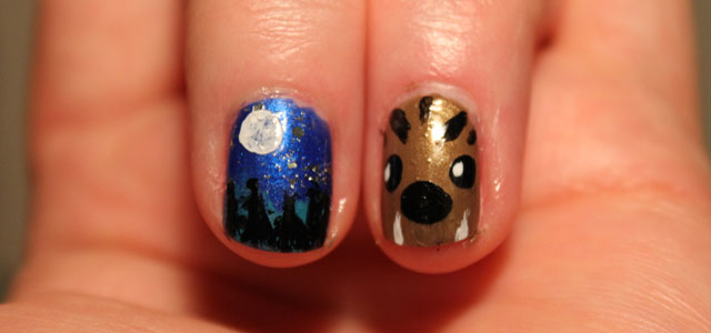 Easy werewolf nail art.