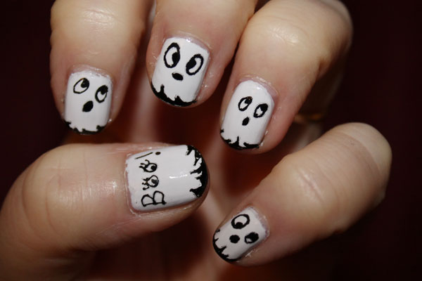 My first attempt at ghostly nail art.