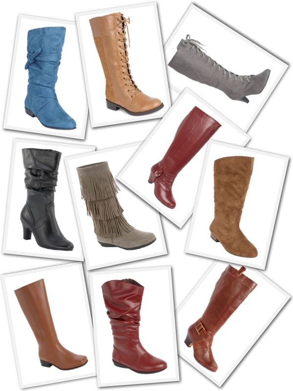 An assortment of styles of wide calf boots available from Roaman's online.