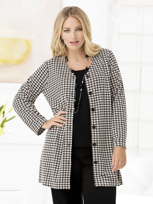 This black and white houndstooth knit jacket is from Ulla Popken.