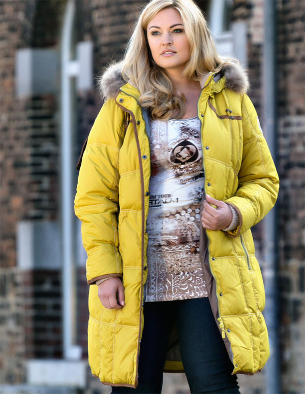 This gorgeous bright yellow down filled coat is from Navabi.