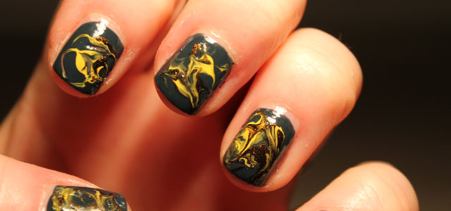 Take a look at my dry marble nail art.