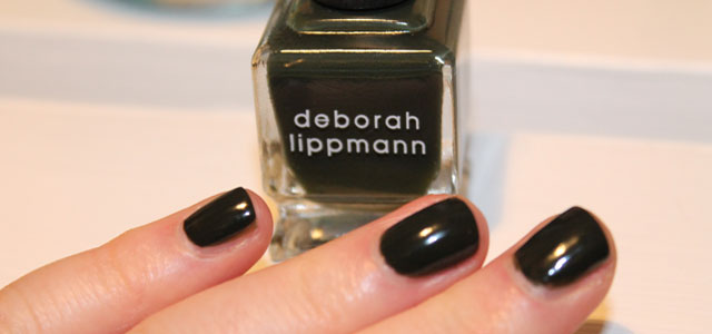 Featured black green nail polish from Deborah Lippman.