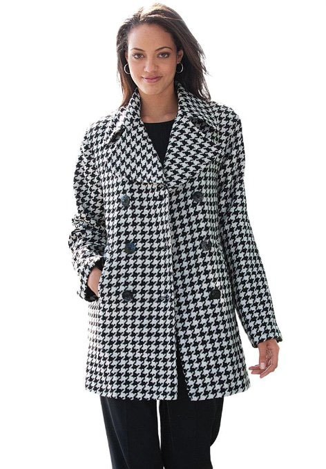This houndstooth print coat is from Jessica London.