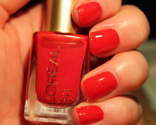 A closer look at L'Oreal's red Rendezvous nail polish.