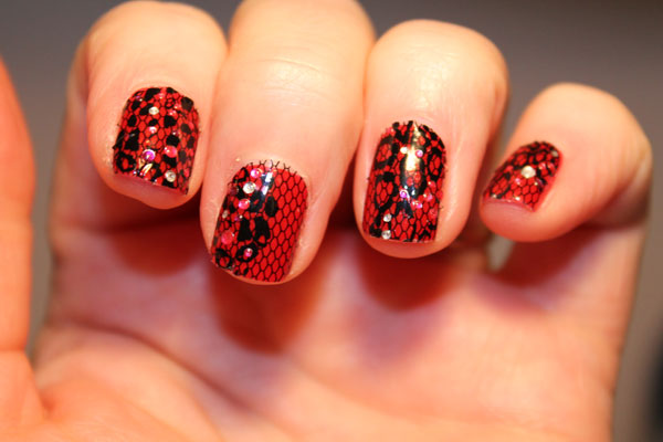 My nail art strips from another angle.