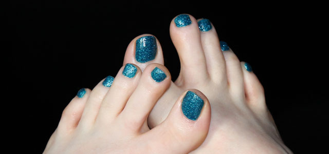My Pixie Dust toes are decorated with Zoya's blue Liberty.