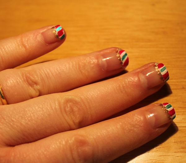 My first attempt at candy cane tips went well.