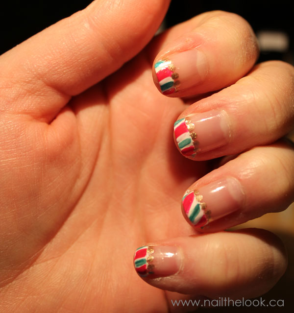 My awesome candy cane nail tips.