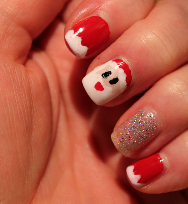 My attempt at Santa nail art.